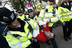 © Licensed to London News Pictures. 09/10/2019. London, UK. Extinction Rebellion activists are removed by police from their blockade near the back entrance to Downing Street during a third day of protests in central London. The climate change group intend to blockade the Westminster area for two weeks to demand that the government takes immediate and decisive action on climate change. Photo credit: Peter Macdiarmid/LNP