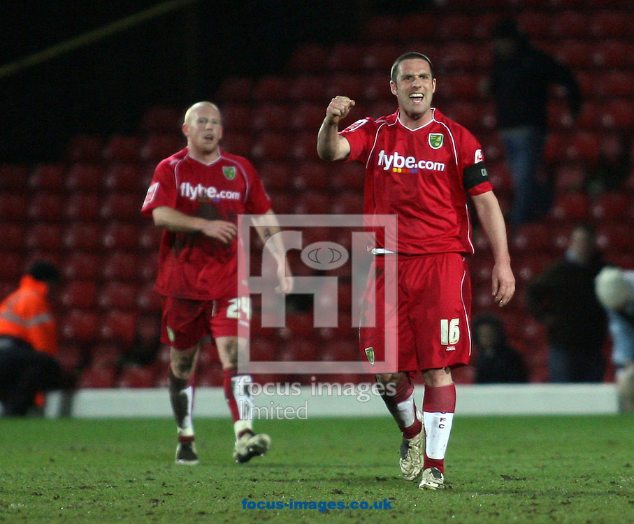 London - Tuesday, March 4th, 2008: Mark Fotheringham of Norwich City celebrates at the end against Watford during the Coca Cola Champrionship match at Vicarage Road, London. (Pic by Chris Ratcliffe/Focus Images)