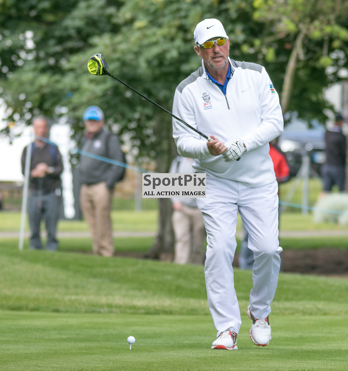 Ian Botham tees off at his first hole.  Prostate Cancer UK Scottish Senior Open, 28th August 2015