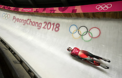 February 8, 2018 - Pyeongchang, South Korea - Canada's KIMBERLEY MCRAE during the luge Women's singles training runs the evening before the opening ceremonies of the 2018 Pyeongchang Winter Olympics. (Credit Image: © Daniel A. Anderson via ZUMA Wire)
