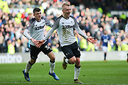 Derby County midfielder Louie Sibley celebrates after scoring during the EFL Sky Bet Championship match between Derby County and Blackburn Rovers at the Pride Park, Derby, England on 8 March 2020.