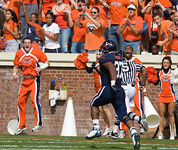 Virginia running back Cedric Peerman (37) rushes for a 78 yard touchdown against ECU.  The Virginia Cavaliers defeated the East Carolina Pirates 35-20 in NCAA football at Scott Stadium on the Grounds of the University of Virginia in Charlottesville, VA on October 11, 2008.