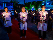 30 MARCH 2018 - BANGKOK, THAILAND: Men representing the Apostles during Good Friday observances at Santa Cruz Church in the Thonburi section of Bangkok. Santa Cruz is more than 350 years old and is one of the oldest Catholic churches in Thailand.        PHOTO BY JACK KURTZ