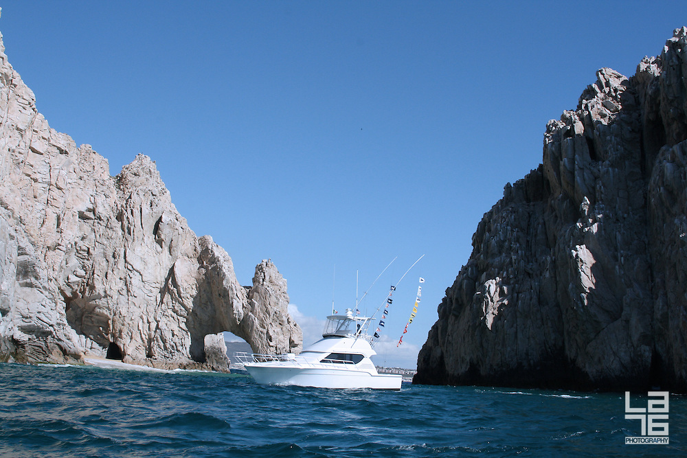 Sports fishing yacht at the Land's End, in Cabo San Lucas, Baja california Sur, Mexico