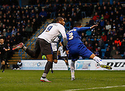Bury FC Striker & Top Scorer Leon Clarke watches his header past the keeper during the Sky Bet League 1 match between Gillingham and Bury at the MEMS Priestfield Stadium, Gillingham, England on 14 November 2015. Photo by Andy Walter.