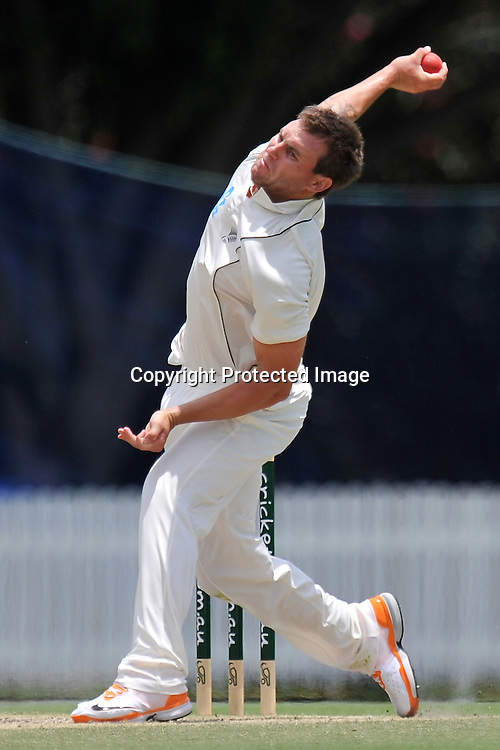 Doug Bracewell bowling from the Crosby Road end during action from Day 3 of the Tour match between Australia A and New Zealand played at Allan Border Field from 24th - 27th November 2011~ Photo Credit Required : Steven Hight (AURA Images) ~ Editorial Use only in accordance with CA Terms & Conditions (2011-12)