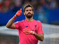 LONDON, ENGLAND - Saturday, September 29, 2018: Liverpool's goalkeeper Alisson Becker gives a thumbs-up during the FA Premier League match between Chelsea FC and Liverpool FC at Stamford Bridge. (Pic by David Rawcliffe/Propaganda)