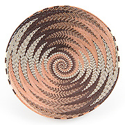 Open Bowl; Copper and brown zigzag