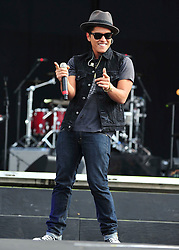 © licensed to London News Pictures. LONDON UK  01/07/11.Bruno Mars performs on  Day 1 of the Wireless Festival in Hyde Park London saw thousands of music fans enjoying the sunshine and the music . Please see special instructions for usage rates. Photo credit should read ALAN ROXBOROUGH/LNP