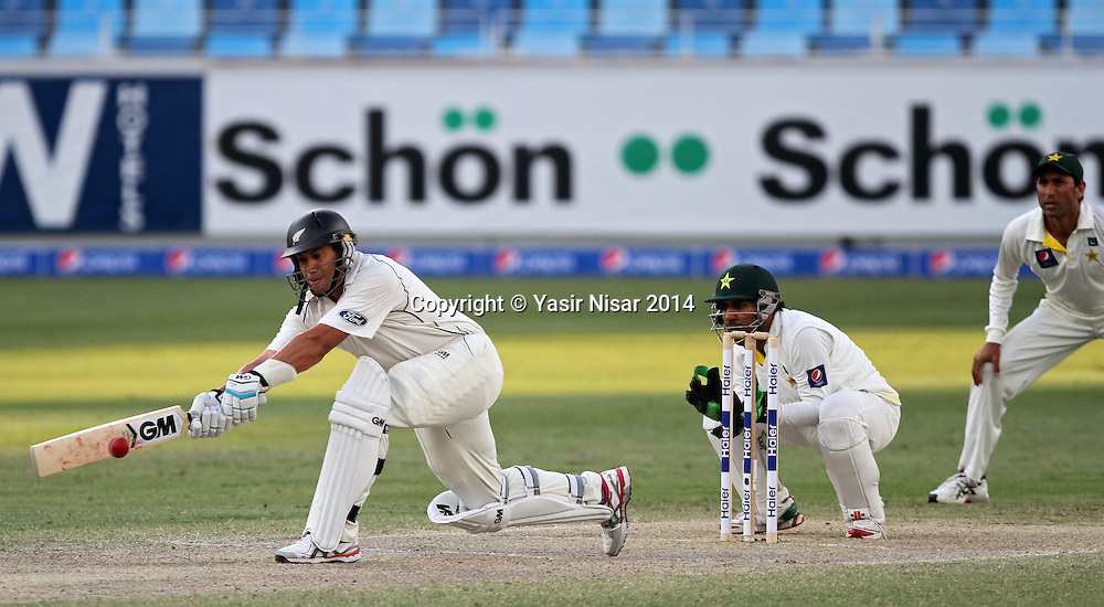 Pakistan vs New Zealand, 20 November 2014 <br /> Ross Taylor plays a shot on the forth day of second test in Dubai