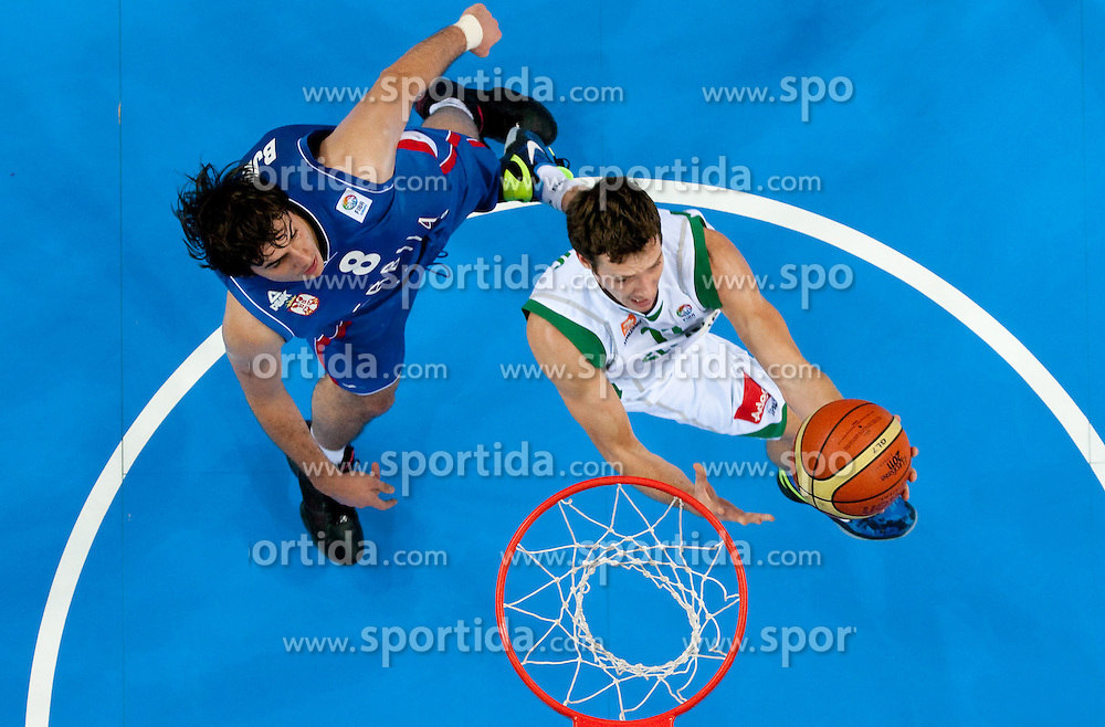 Nemanja Bjelica of Serbia vs Goran Dragic of Slovenia during basketball game between National basketball teams of Slovenia and Serbia in 7th place game of FIBA Europe Eurobasket Lithuania 2011, on September 17, 2011, in Arena Zalgirio, Kaunas, Lithuania. Slovenia defeated Serbia 72 - 68 and placed 7th. (Photo by Vid Ponikvar / Sportida)