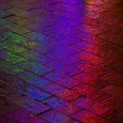 Colorful neon lights reflect on wet brick pavement in Silver Spring, Maryland