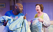 While We're Here <br /> by Barney Norris <br /> at The Bush Theatre Studio, London, Great Britain <br /> Press photocall <br /> 30th April 2017 <br /> <br /> Tessa Peake-Jones as Carol <br /> <br /> Andrew French as Eddie <br /> <br /> <br /> Photograph by Elliott Franks <br /> Image licensed to Elliott Franks Photography Services