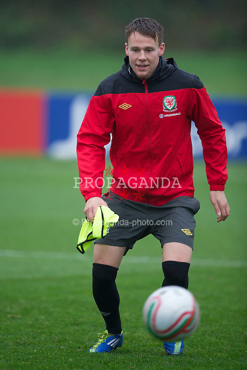 CARDIFF, WALES - Tuesday, November 8, 2011: Wales' Chris Gunter during a training session at the Vale of Glamorgan Hotel ahead of the friendly match against Norway. (Pic by David Rawcliffe/Propaganda)