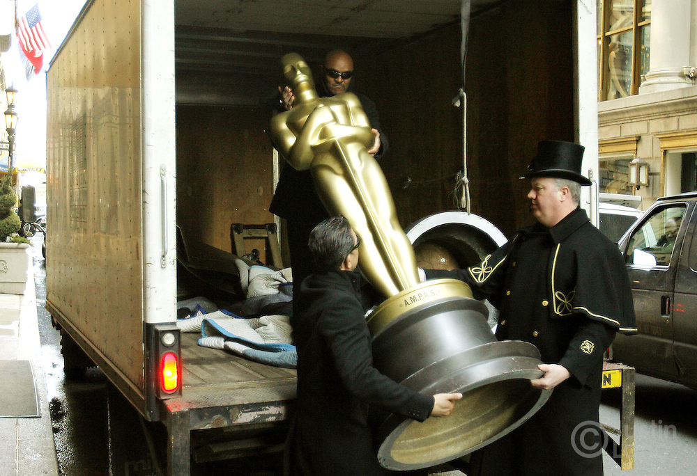 One of two 8-foot Oscar statues is delivered to the St. Regis Hotel in New York, New York on Wednesday 21 February 2007. The two statues arrived as part the preparation for the  official New York Oscar night celebration which is being held at the hotel.