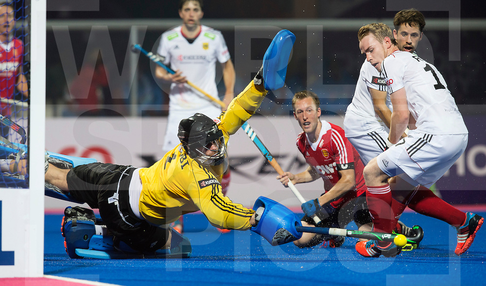 BHUBANESWAR  (INDIA) -  Quater Finals England vs Germany of the Hero Champions Trophy Hockey.  German goalkeeper Nicolas Jacobi saves. right Christopher Ruhr of Germany an in the middle Barry Middleton of England. Photo KOEN SUYK