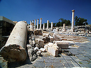 Roman temple at the ruins of Bet She'an Israel. Bet shean is located in the northn regions of Israel, Bet She'an was the site of an Egyptian administrative center during the XVIII and XIX dynasties. In Hellenistic times it was a Scythian city from circa 625 to 300 B.C., and the biblical city Beth-shean. In 64 BC it was taken by the Romans, rebuilt, and made the center of the Decapolis, the &quot;Ten Cities&quot; of Samaria that were centers of Greco-Roman culture. The city contains the best preserved Roman theater of ancient Samaria.<br /> <br /> During the 6th century Byzantine period, Bet She'an housed a Christian monastery named the Monastery of Lady Mary which has a Zodiac mosaic that is still preserved today.