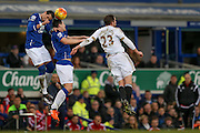 Everton defender Ramiro Funes Mori   and Everton midfielder Gareth Barry win the ball ahead of Swansea City midfielder Gylfi Sigurdsson  during the Barclays Premier League match between Everton and Swansea City at Goodison Park, Liverpool, England on 24 January 2016. Photo by Simon Davies.