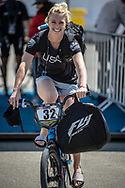 Women Elite #32 (CRAIN Brooke) USA arriving on race day at the 2018 UCI BMX World Championships in Baku, Azerbaijan.