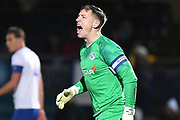 Tranmere Rovers goalkeeper Scott Davies (1) shouts at his defenders during the The FA Cup match between Wycombe Wanderers and Tranmere Rovers at Adams Park, High Wycombe, England on 20 November 2019.