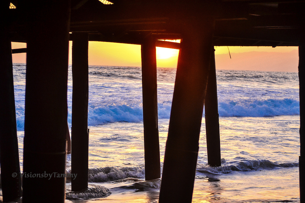 Southern California sunset from beneath Santa Monica Pier