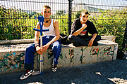 Teenagers hanging out together, outside Berlin, Germany 2007