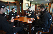 James Franklin, Ross Taylor, Kyle Mills and Daniel Vettori play cards in the long room as the weather stops play on day 5. New Zealand v West Indies, First Test Match, National Bank Test Series, University Oval, Dunedin, Monday 15 December 2008. Photo: Andrew Cornaga/PHOTOSPORT