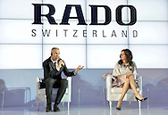 (R) Agnieszka Radwanska - new global brand Rado Ambassador and (L) Matthias Breschan President of Rado brand during press conference at the Uffcio Primo Club in Warsaw on April 30, 2014.<br /> <br /> Poland, Warsaw, April 30, 2014<br /> <br /> Picture also available in RAW (NEF) or TIFF format on special request.<br /> <br /> For editorial use only. Any commercial or promotional use requires permission.<br /> <br /> Mandatory credit:<br /> Photo by © Adam Nurkiewicz / Mediasport