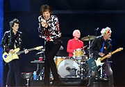 Ronnie Wood, Mick Jagger, Charlie Watts and Keith Richards of The Rolling Stones perform live on stage during the 'No Filter' tour at The London Stadium on May 25, 2018 in London, England.  (Photo by Simone Joyner)