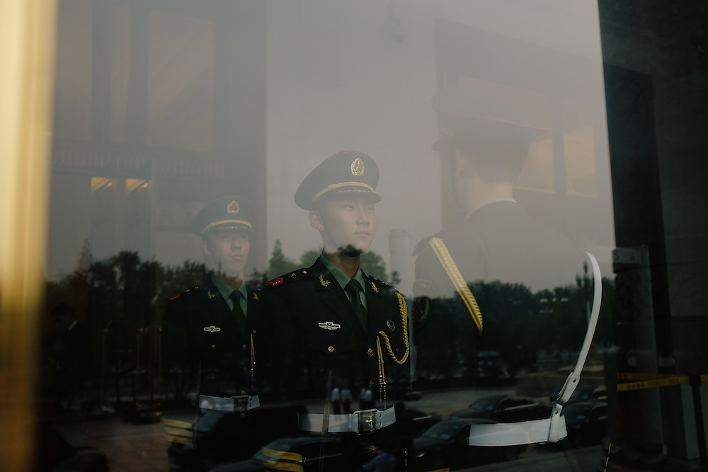 Guards at the Great Hall of the People in Beijing, China.