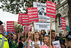 London, UK. 2 September, 2019. Hundreds of people attend a 'Stop the Coup' protest in Whitehall as Prime Minister Boris Johnson makes an address to the nation outside 10 Downing Street to the effect that there will be a vote on a general election if MPs vote for a further delay to Brexit.