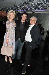 Left to right, NATALIE COYLE, ZAFAR RUSHDIE and HANIF KUREISHI at W London - Leicester Square for the Liberatum Cultural Honour in Spice Market for John Hurt, CBE in association with artist Svetlana K-Lié on 10th April 2013.