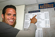 Swimmer and CAL student Dominik MEICHTRY of Switzerland points on his name on the men's 200m freestyle record list in the lockers at the pool of the University of California in Berkeley, California, USA, Friday, April 6, 2007. Dominik Meichtry is listed second behind US star Matt Biondi. (Photo by Patrick B. Kraemer / MAGICPBK)