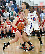 Tuxedo's Erin Murphy, left, tries to dribble past Chester's Simone Ayers during the Section 9 Class C girls' basketball championship game at SUNY New Paltz on Friday, March 1, 2013.