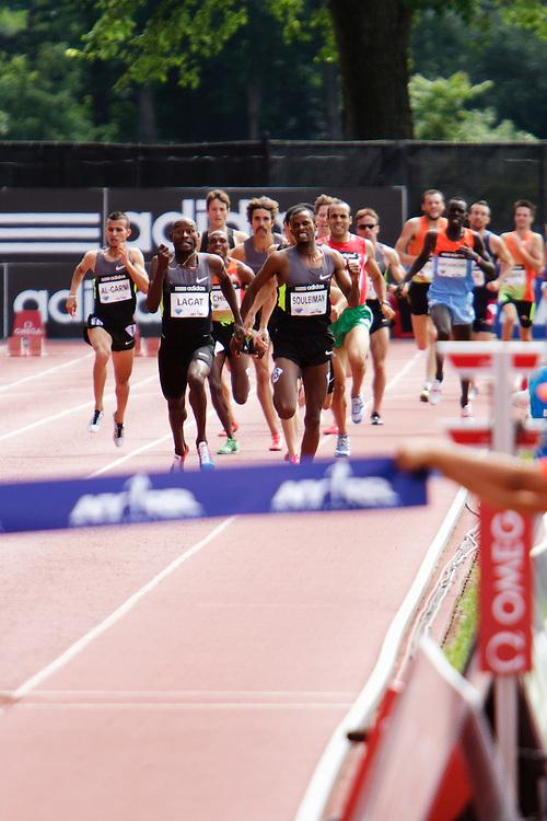 Samsung Diamond League adidas Grand Prix track & field; men's 1500 meters, home stretch, Lagat, Suleiman,