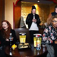 Nederland, Amsterdam , 12 februari 2014.<br /> Bezoekers tijdens sneak preview van de film The Grand Budapest hotel van regisseur Wes Anderson konden vooraf in de zg VIP room verzamelen en een drankje drinken.<br /> Foto:Jean-Pierre Jans