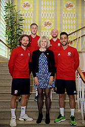 WREXHAM, WALES - Wednesday, June 5, 2019: Glyndwr University Vice-Chancellor Dr Maria Hinfelaar (C) with Wales' Joe Allen, Will Vaulks, Jonathan Williams and Neil Taylor at Glyndwr University ahead of the UEFA Euro 2020 Qualifying Group E match between Croatia and Wales. (Pic by David Rawcliffe/Propaganda)