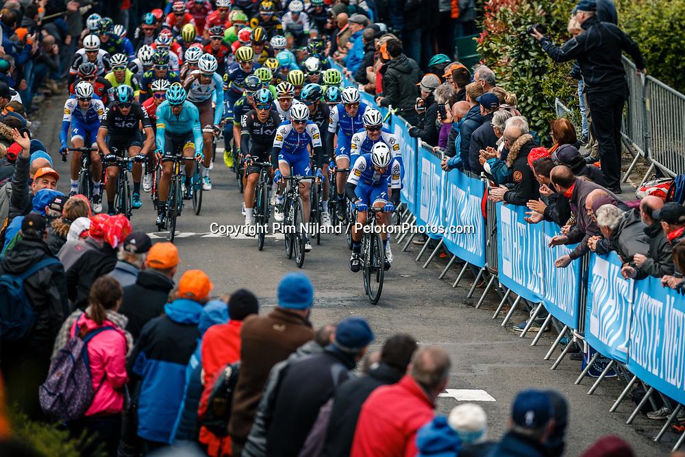 Peloton with Quick-Step Floors leading, during 2nd lap on local circuit, UCI Men WorldTour 81st La Flèche Wallonne at Huy Belgium, 19 April 2017. Photo by Pim Nijland / PelotonPhotos.com | All photos usage must carry mandatory copyright credit (Peloton Photos | Pim Nijland)