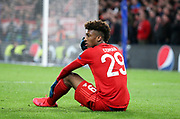 Kingsley Coman of Bayern Munich is injured during the UEFA Champions League, round of 16, 1st leg football match between Chelsea and Bayern Munich on February 25, 2020 at Stamford Bridge stadium in London, England - Photo Juan Soliz / ProSportsImages / DPPI