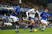 Everton defender Kurt Zouma (5) Bournemouth midfielder David Brooks (20) and Everton midfielder Bernard (20) during the Premier League match between Everton and Bournemouth at Goodison Park, Liverpool, England on 13 January 2019.