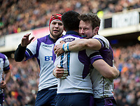 EDINBURGH, SCOTLAND - FEBRUARY 11: Scotland winger Sean Maitland is mobbed by teammates after scoring his side's opening try during the NatWest Six Nations match between Scotland and France at Murrayfield on February 11, 2018 in Edinburgh, Scotland. (Photo by MB Media/Getty Images)