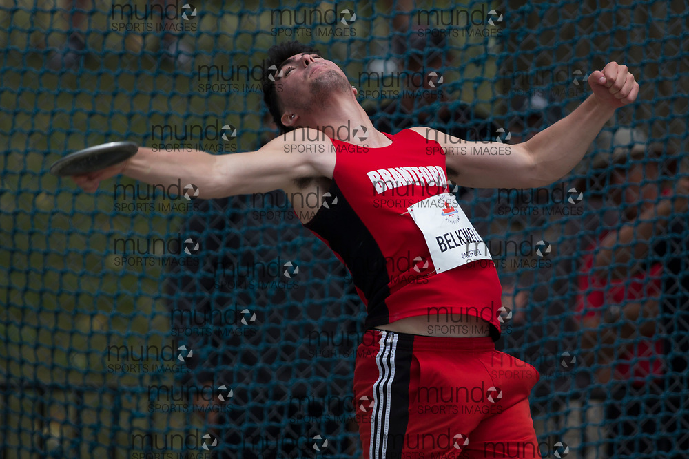 OTTAWA, ON -- 06 July 2018: Cole Belkwell throwing in the U20 Discus at the 2018 Athletics Canada National Track and Field Championships held at the Terry Fox Athletics Facility in Ottawa, Canada. (Photo by Sean Burges / Mundo Sport Images).