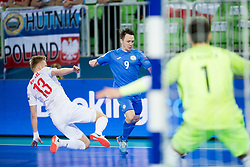Tomasz Kriezel of Poland and Aleksandr Dovgan of Kazakhstan during futsal match between Poland and Kazakhstan at Day 3 of UEFA Futsal EURO 2018, on February 1, 2018 in Arena Stozice, Ljubljana, Slovenia. Photo by Urban Urbanc / Sportida