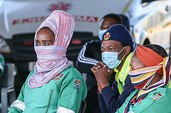 South Africa - Durban -  2 June 2020 -   Dozens of paramedics at KwaMashu Polyclinic held a gathering yesterday to express their frustrations with how the government is not giving them adequate protection after a fellow staff member tested positive for COVID-19. The workers have said they have talked about the matters with regional government leaders but to no avail.1. Picture Leon Lestrade/African News Agency(ANA).