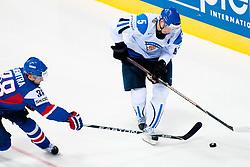 Lasse Kukkonen of Finland vs Pavol Demitra of Slovakia during ice-hockey match between Finland and Slovakia of Group E in Qualifying Round of IIHF 2011 World Championship Slovakia, on May 7, 2011 in Orange Arena, Bratislava, Slovakia. (Photo by Matic Klansek Velej / Sportida)