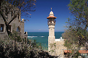 El Baher mosque in Jaffa with the sea in the background