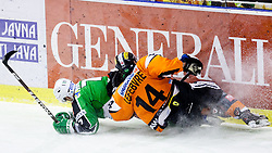 Domen Vedlin (HDD Tilia Olimpija, #7) and Guillaume Lefebvre (Moser Medical Graz 99ers, #14) crashed in to the board during ice-hockey match between HDD Tilia Olimpija and Moser Medical Graz 99ers in 42nd Round of EBEL league, on Januar 15, 2012 at Hala Tivoli, Ljubljana, Slovenia. HDD Tilia Olimpija defeated Moser Medical Graz 99ers 4:2. (Photo By Matic Klansek Velej / Sportida)