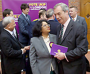 UKIP launch London Manifesto 2016 <br /> with Candidates for mayor and the London Assembly <br /> at the Emmanuel Centre, London, Great Britain <br /> 19th April 2016 <br /> <br /> Nigel Farage <br /> Leader of UKIP <br /> <br /> <br /> Rathy Alagaratnam<br /> candidate for Brent &amp; Harrow <br /> <br /> <br /> <br /> Photograph by Elliott Franks <br /> Image licensed to Elliott Franks Photography Services
