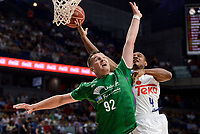 Real Madrid's Dontaye Draper and Unicaja Malaga's Alen Omic during semi finals of playoff Liga Endesa match between Real Madrid and Unicaja Malaga at Wizink Center in Madrid, June 02, 2017. Spain.<br /> (ALTERPHOTOS/BorjaB.Hojas)