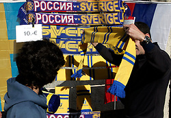 Fan`s street shop before the UEFA EURO 2008 Group D soccer match between Sweden and Russia at Stadion Tivoli NEU, on June 18,2008, in Innsbruck, Austria. Russia won 2:0. (Photo by Vid Ponikvar / Sportal Images)